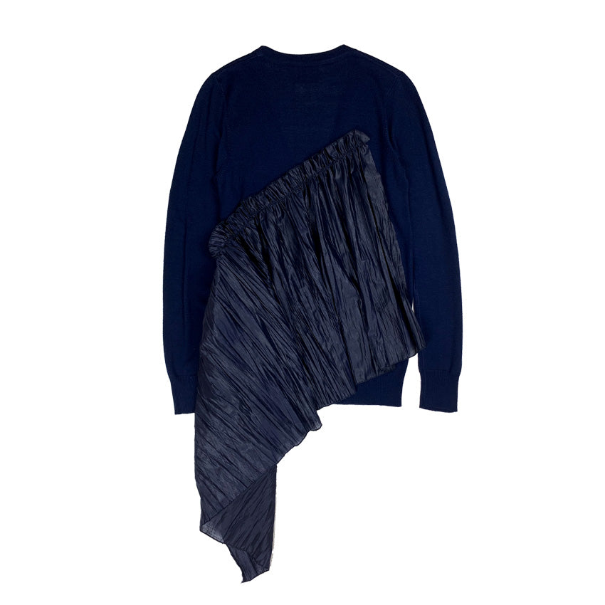 [PRE-ORDER] Embroidered Frill Knit Cardigan NAVY