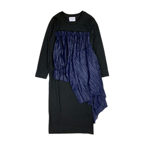 Pleated Frill Sweat Dress BLACK