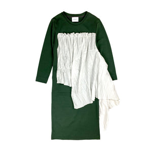 [PRE-ORDER] Pleated Frill Sweat Dress GREEN