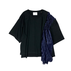 Pleated Frill Over-Size Tee BLACK