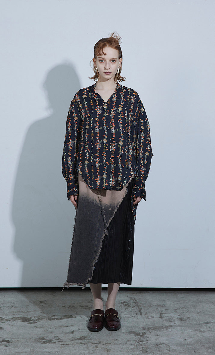 Printed Coccon Blouse HERBARIUM