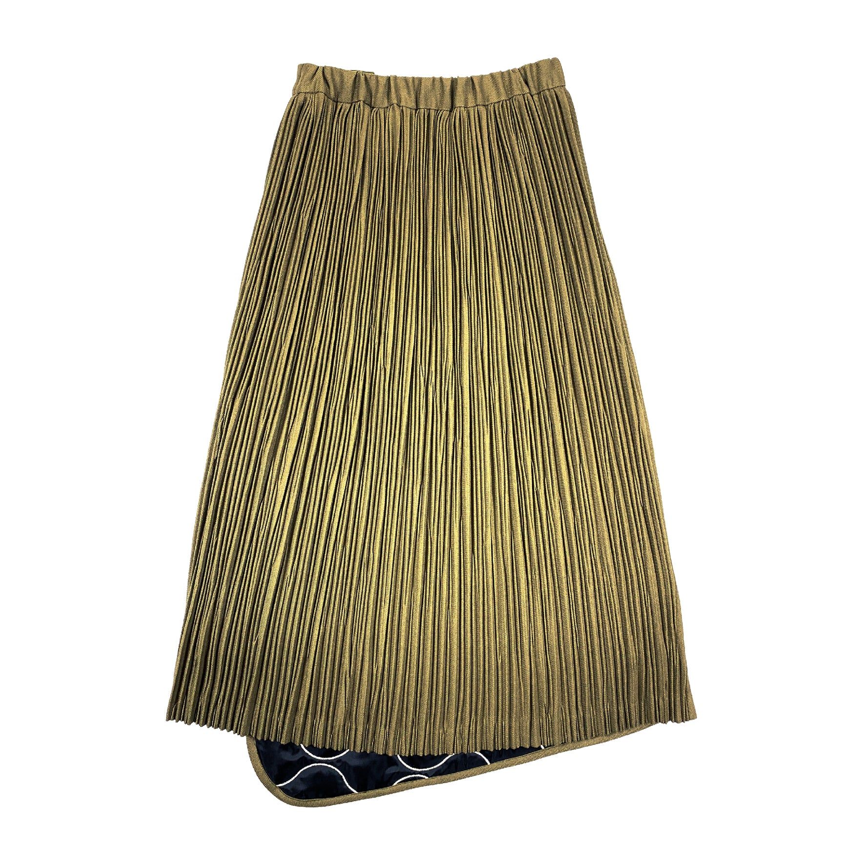Quilted Embroidery Pleated Skirt OLIVE