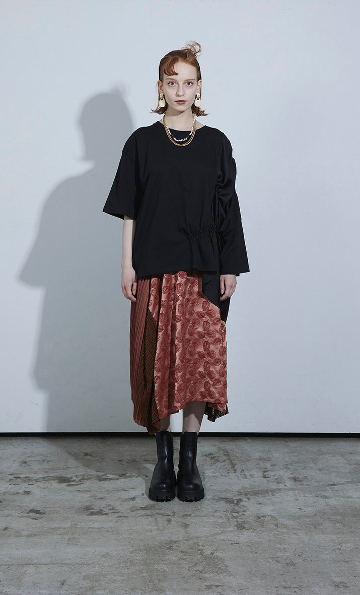 Tulip Embroidery Pleated Skirt TERACOTTA