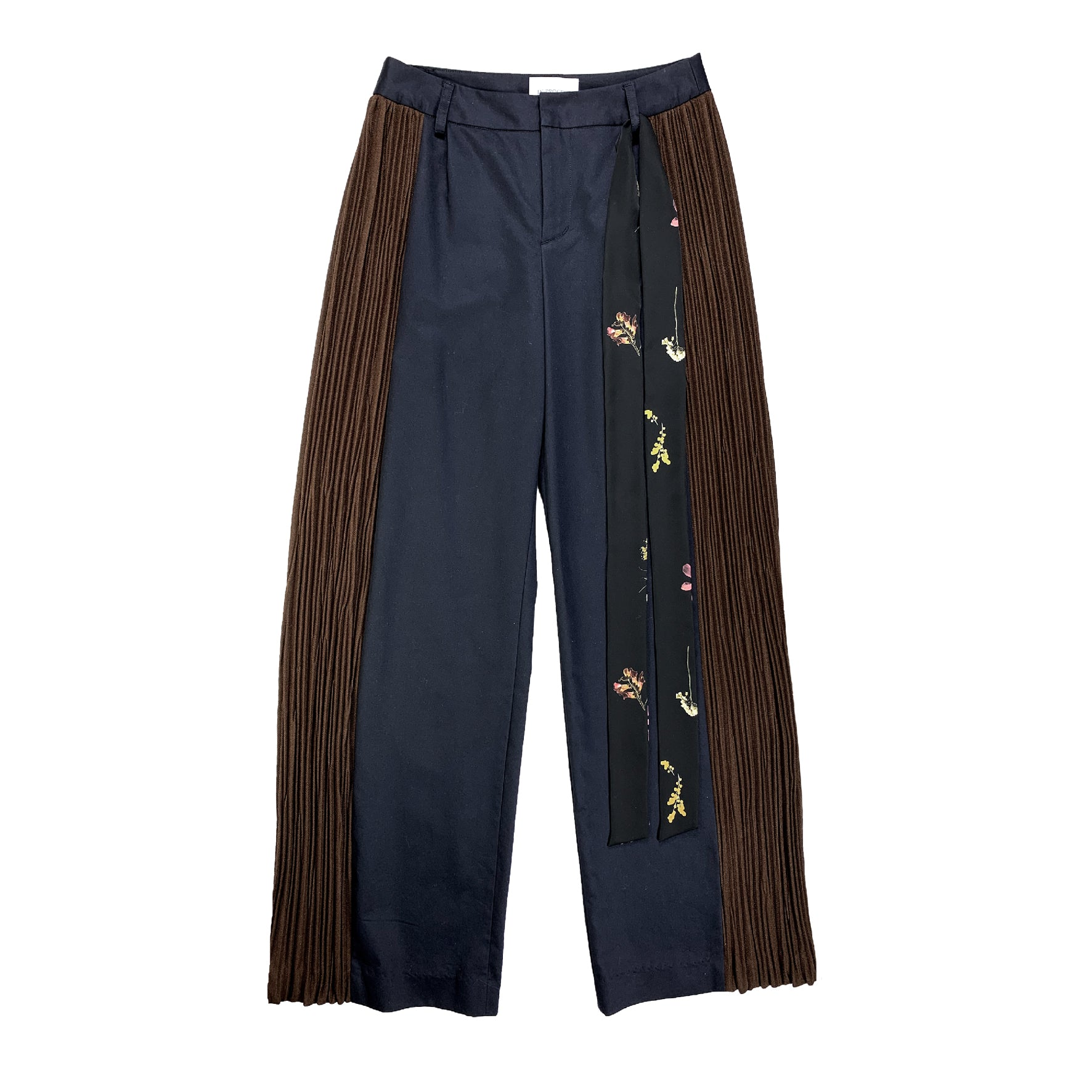 Side Panel Pleated Pants  NAVY