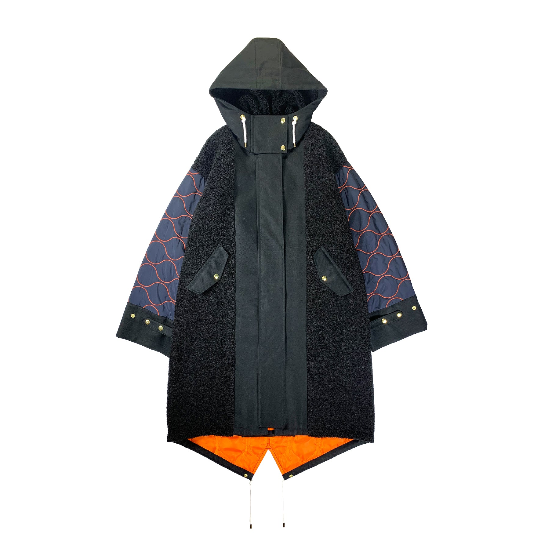 Quilted Embroidery Mods Coat BLACK
