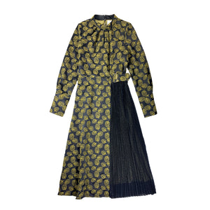 Tulip Embroidery Pleated Dress BLACK