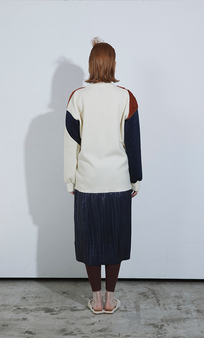 PatchWork Pleated Dress IVORY