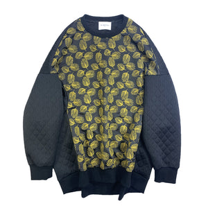 Tulip Embroidery Quilted PullOver BLACK