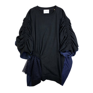 Asymmetric Shirring Sweatshirt BLACK