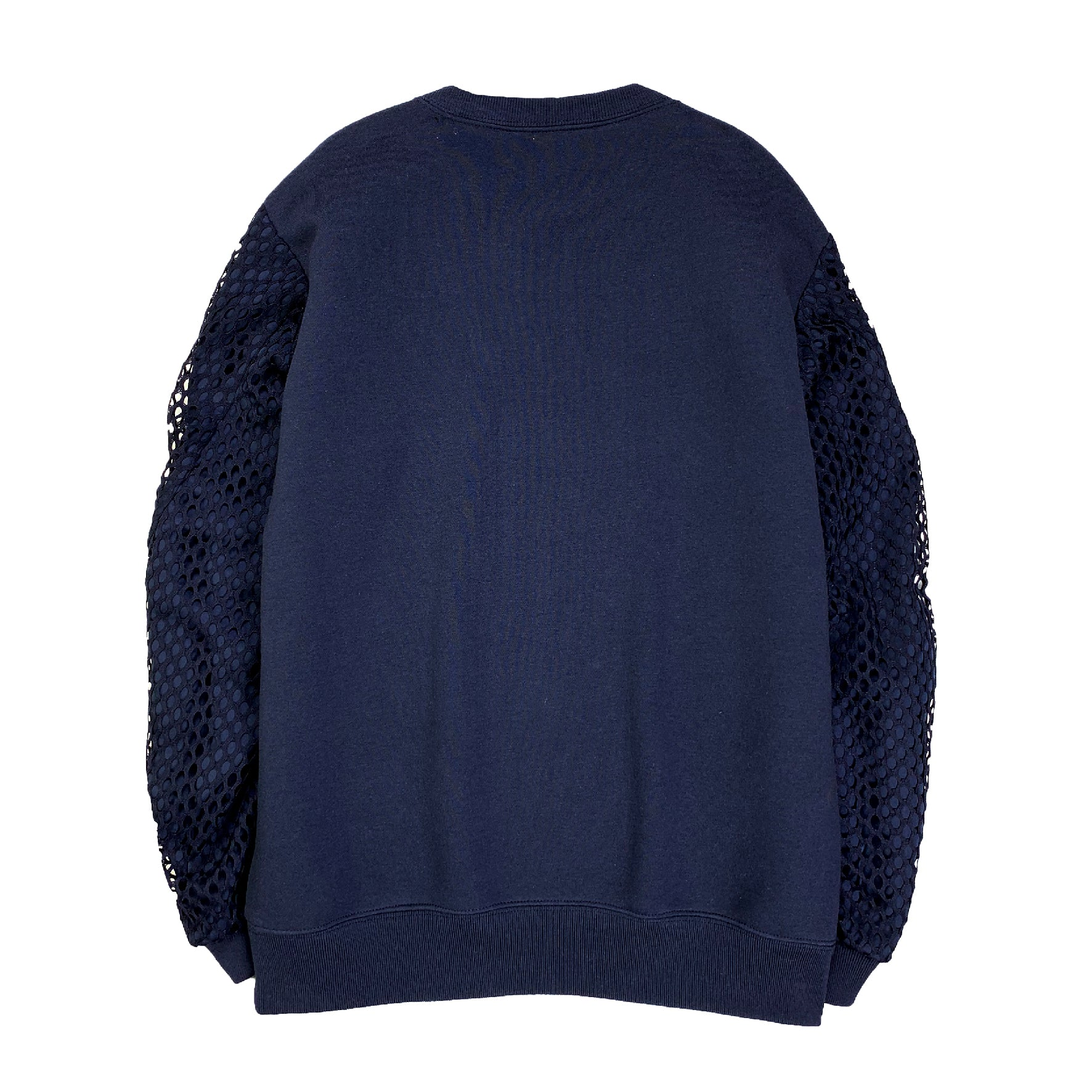Mesh Satin Puff Sleeve Sweatshirt NAVY