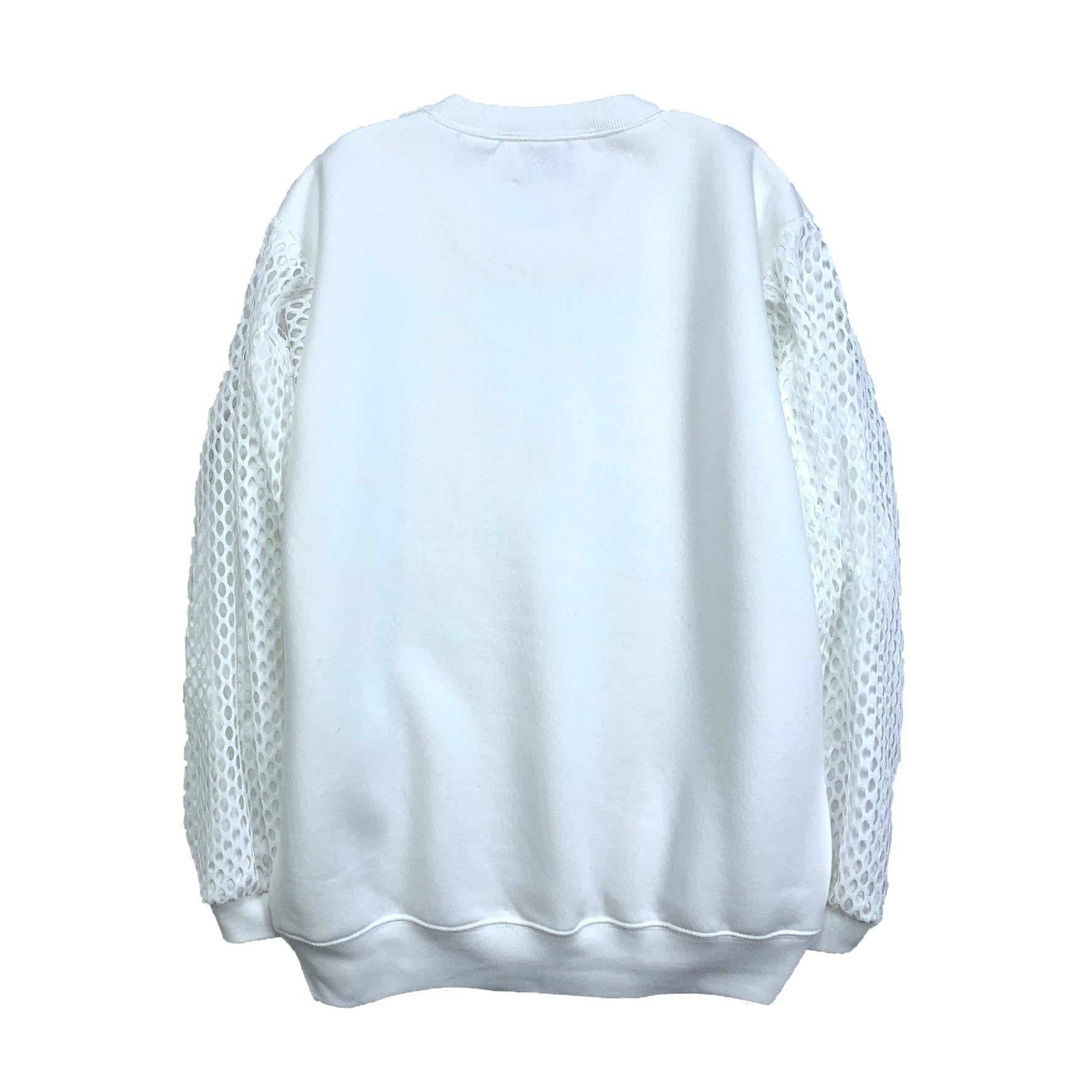 Mesh Satin Puff Sleeve Sweatshirt WHITE