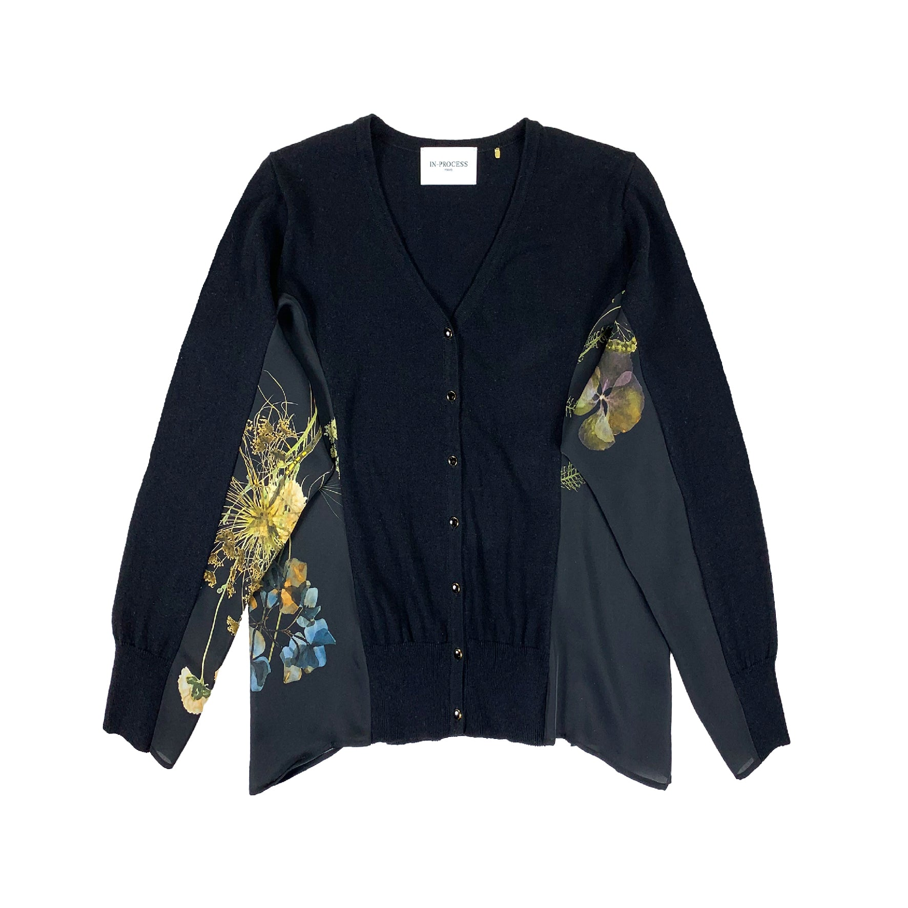 Printed Side Panel Cardigan BLACK