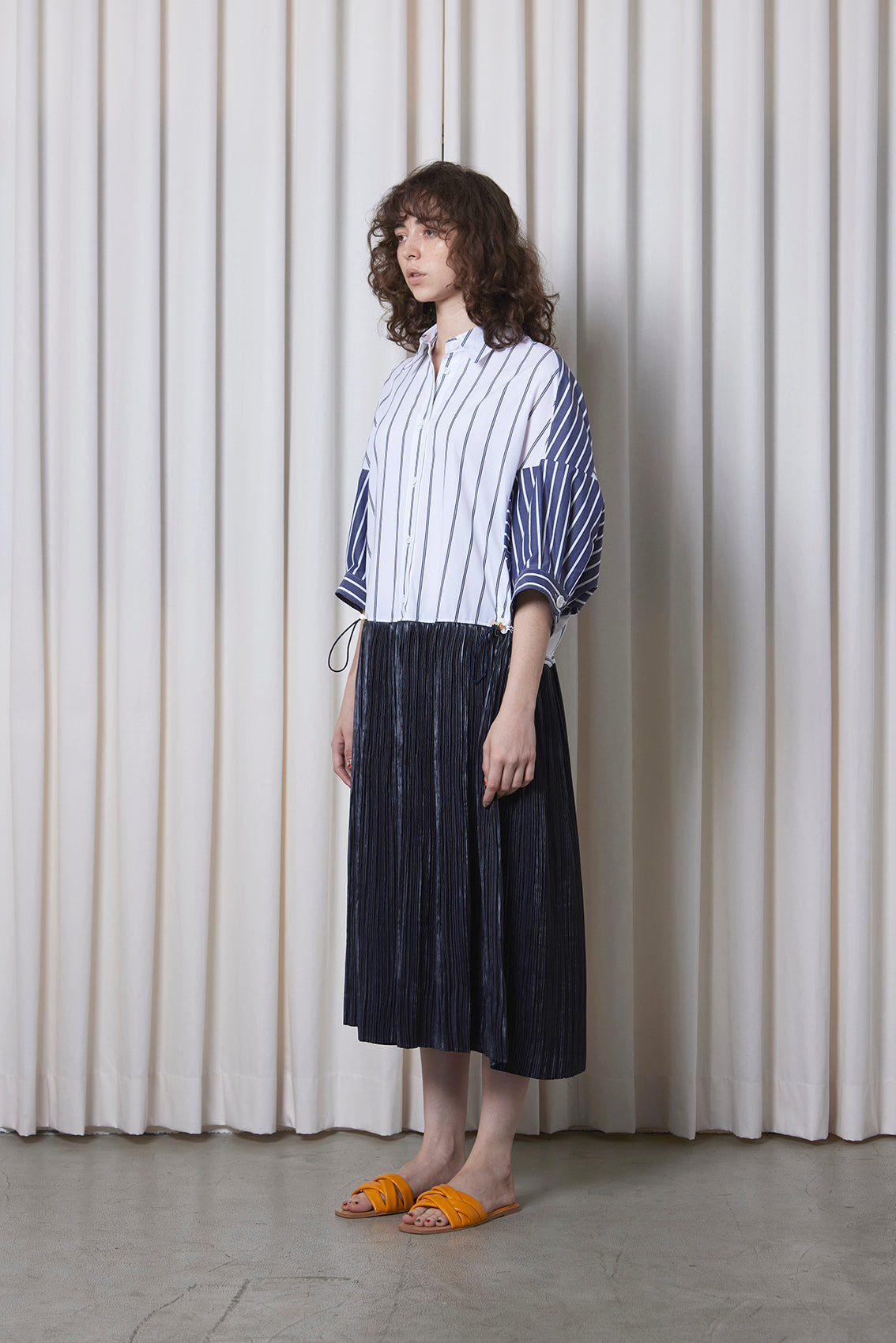 Oversize Pleated Shirt Dress STRIPE