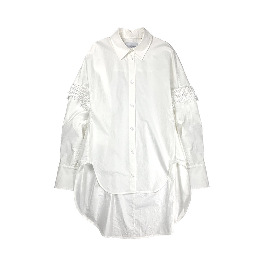 Oversize Cocoon Shirt With Pleats WHITE