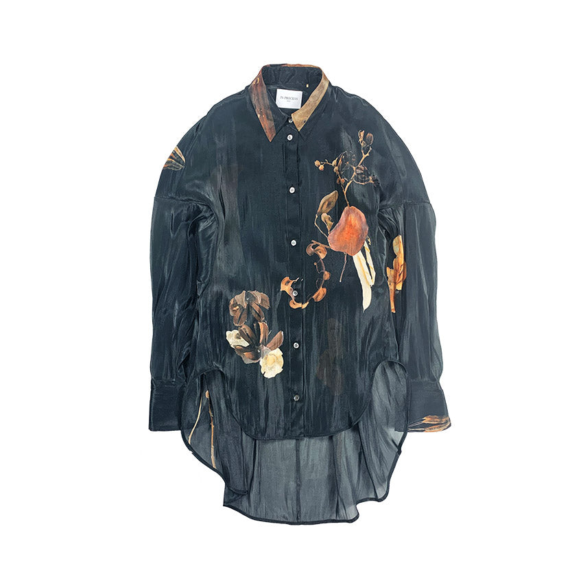 Printed Oversized Cocoon Shirt DRY FLOWER