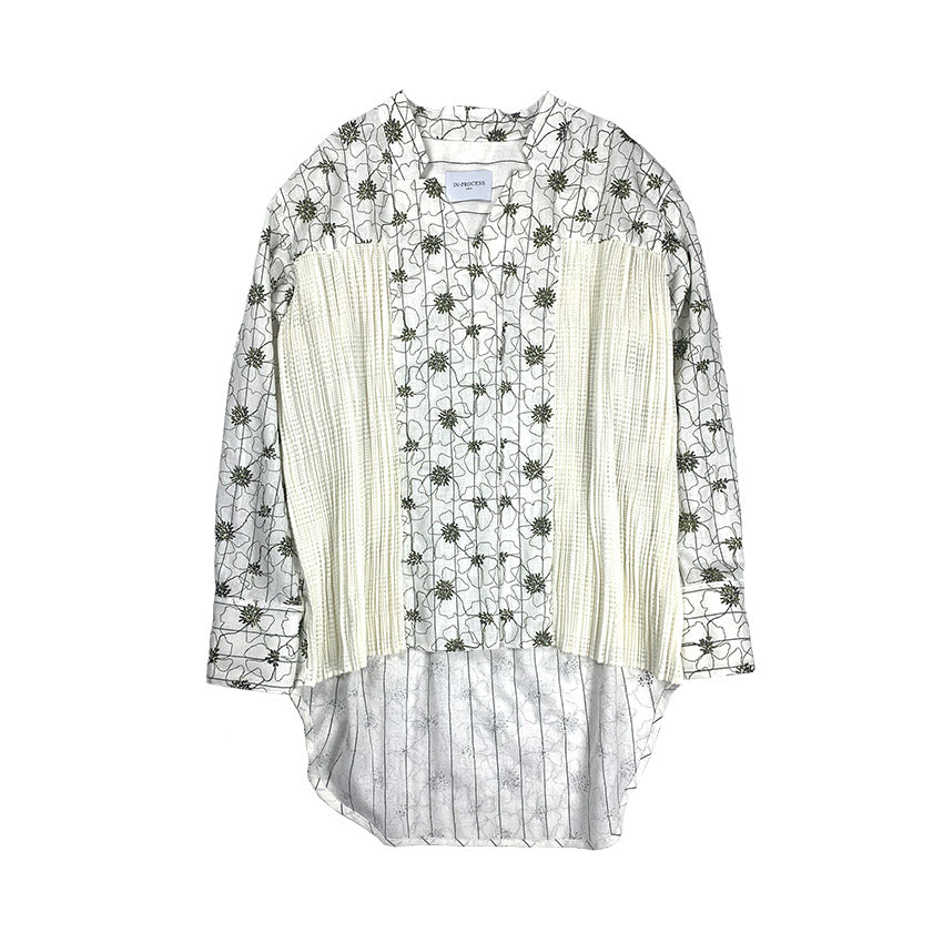 Pleated Embroidery Blouse WHITE