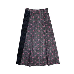 Pleated Embroidery Skirt BLACK
