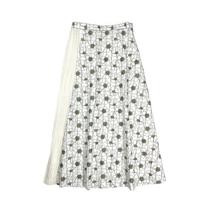 Pleated Embroidery Skirt WHITE