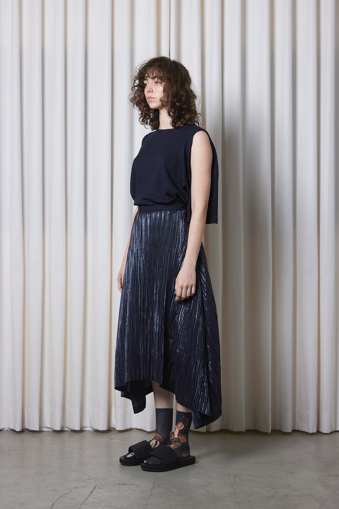 Pleated Coated Satin Skirt NAVY