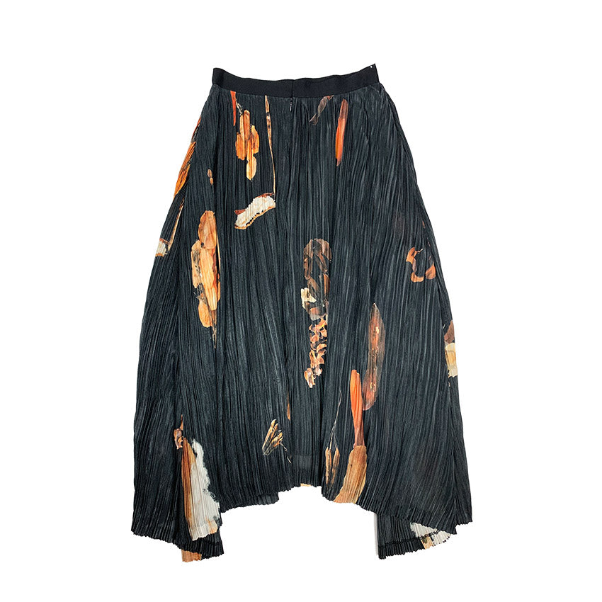 Printed Pleated Organza Skirt DRY FLOWER