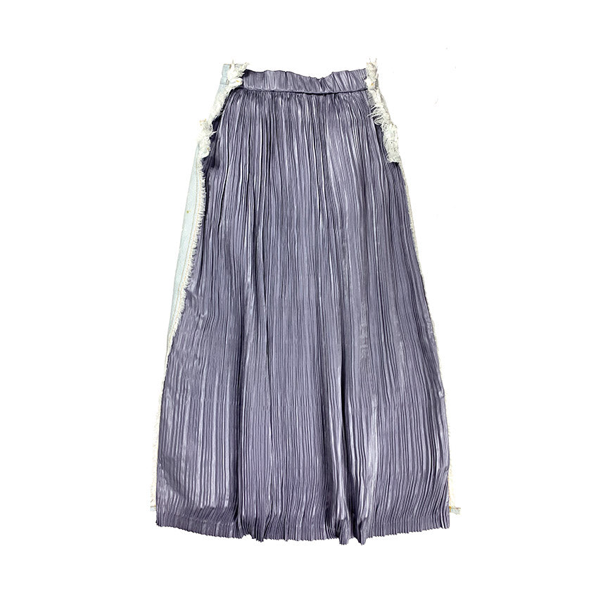 Artist Workwear Pleated Denim Skirt BLUE