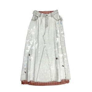 Artist Workwear Pleated Denim Skirt GREY