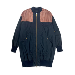 Pleated Cocoon MA-1 Jaket NAVY