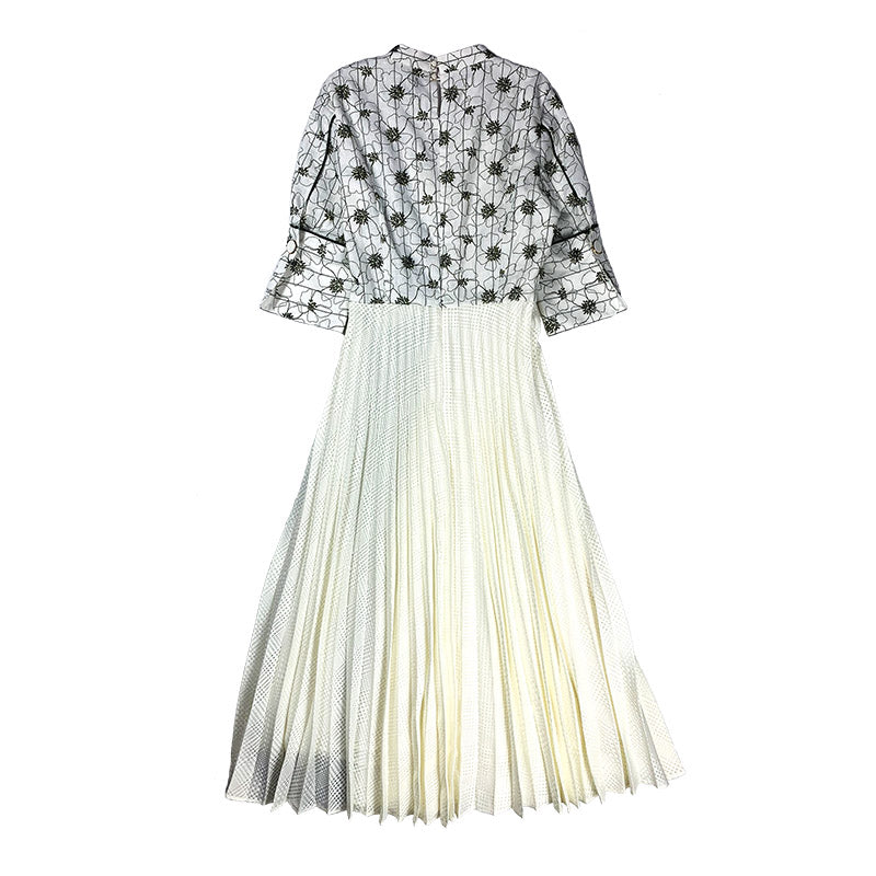 Pleated Embroidery Dress WHITE