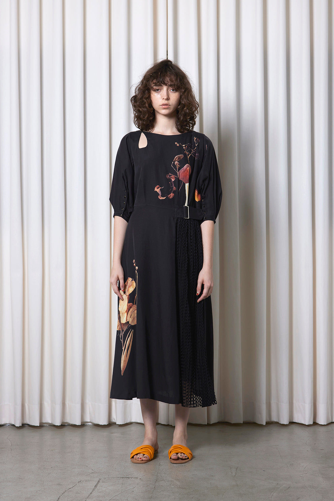 Printed Dress With Pleated Mesh DRY FLOWER