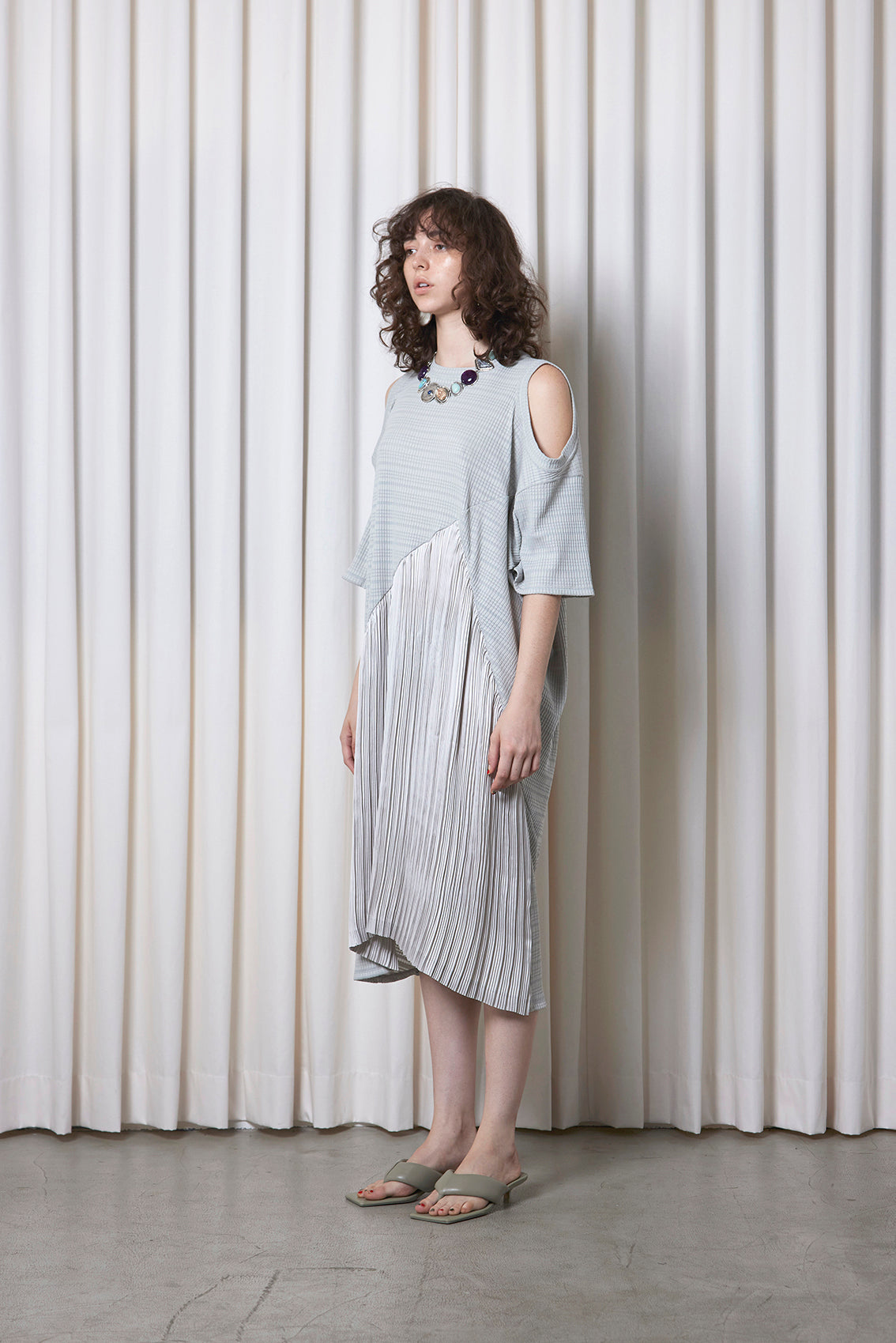 Pleated Rib Jersey Dress GREY
