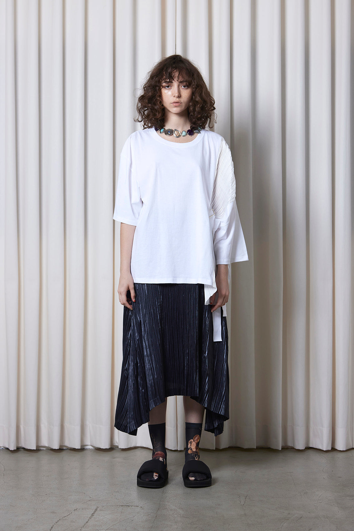 Belted Pleated Tee WHITE