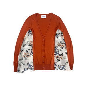Printed Paneled Knit Cardigan ORANGE