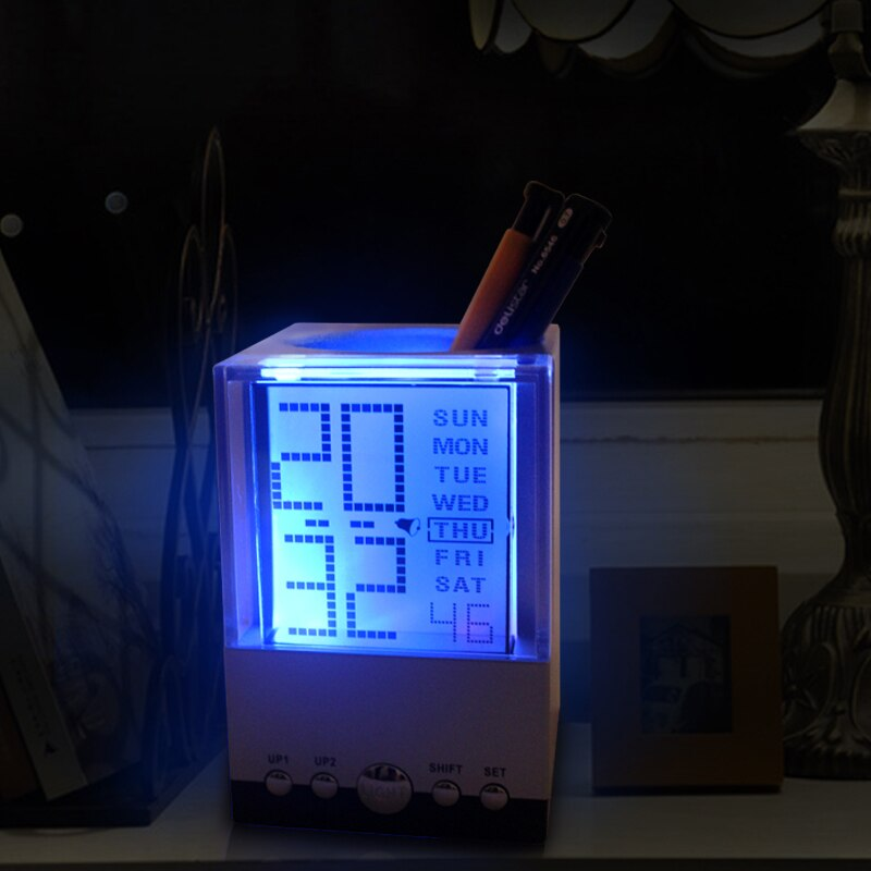 Colorful LED Alarm Clock Pen Holder Creative Calendar LCD Display In 7-color