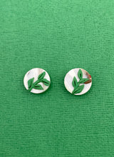 Load image into Gallery viewer, Christmas Florals - 1.5cm Circle Studs - Leaves