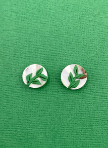 Christmas Florals - 1.5cm Circle Studs - Leaves