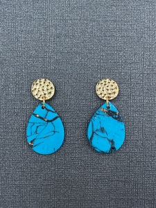 Turquoise Stone - Tear Drops with Gold Accent