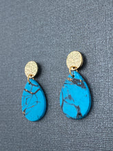 Load image into Gallery viewer, Turquoise Stone - Tear Drops with Gold Accent