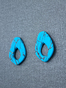 Turquoise Stone - Cut Out Oversizes Studs