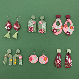 Summer Florals - Pink Circles on Hoops