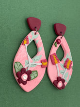 Load image into Gallery viewer, Summer Florals - Pink Cut Out Statement Earrings