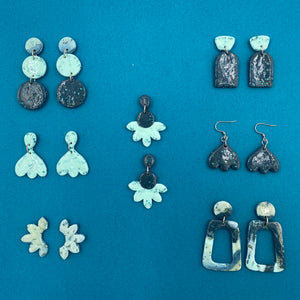 Seaglass Collection - Teal Snowdrop on Hooks