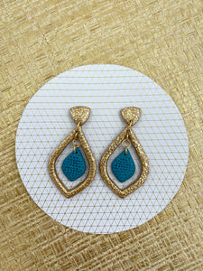 Gold Foil -  Cutout Gold and Teal Statement Earrings