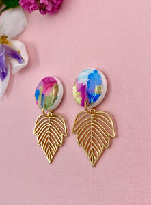 Painterly - Circle and Gold Leaf Statement Dangle 2