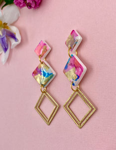 Painterly - 3 Tier Diamond Statement Dangle