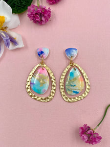 Painterly - Gold Framed Statement Dangle