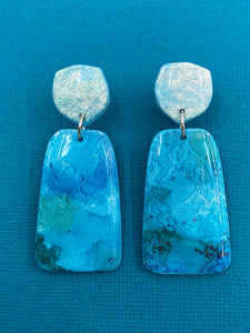 Painterly - Teal Oblong Statement Dangle