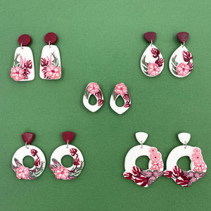 Pink Floral - Teardrop Statement Earring