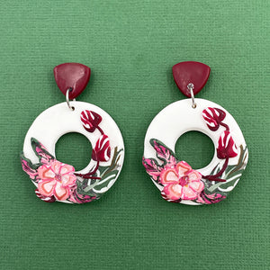 Pink Floral - Smaller Cutout Circle Statement Earring