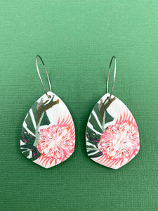 Pink Floral - Protea Shield Statement Earring
