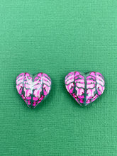 Load image into Gallery viewer, Pink Florals -  Heart Leaf 2.5cm Oversized Studs